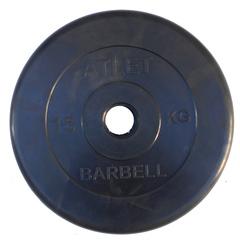 Диск обрезиненный, чёрного цвета, 51 мм, 15 кг  Atlet